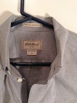 Gray Eddie Bauer Button Front Long Sleeve Cotton Shirt Size M Wrinkle Resistant image 3
