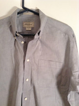 Gray Eddie Bauer Button Front Long Sleeve Cotton Shirt Size M Wrinkle Resistant image 2