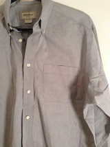 Gray Eddie Bauer Button Front Long Sleeve Cotton Shirt Size M Wrinkle Resistant image 4