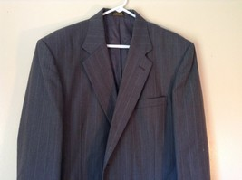 Gray Pin Striped Town Craft Suit Jacket No Size Tag Measurements Below image 3