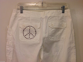 International Concepts White Casual Pants with Pockets and PEACE sign, Size 6 image 6