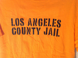 Intex Bright Orange Short Sleeve T-Shirt Los Angeles County Jail on Front Size M image 2