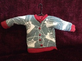 Gray Poseable Ugly Sweater Ornament White Skates Red Trim and Small Red Buttons image 3