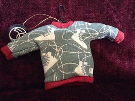 Gray Poseable Ugly Sweater Ornament White Skates Red Trim and Small Red Buttons image 4