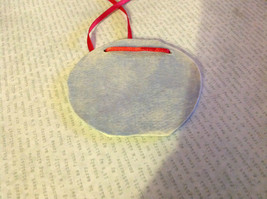 Gray Round Graphic Handmade Flat Ceramic Ornament or Wall Decoration Red Ribbon image 4