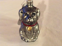 Gray dog w sparkle red collar Glass Holiday Tree Ornament Old German Christmas image 2