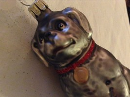 Gray dog w sparkle red collar Glass Holiday Tree Ornament Old German Christmas image 7
