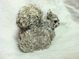 Gray Squirrel w/ fluffy tail Animal Figurine - recycled rabbit fur image 3