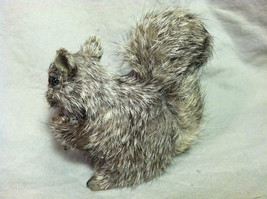 Gray Squirrel w/ fluffy tail Animal Figurine - recycled rabbit fur image 5