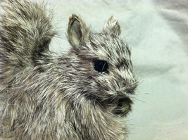 Gray Squirrel w/ fluffy tail Animal Figurine - recycled rabbit fur image 2