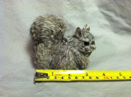 Gray Squirrel w/ fluffy tail Animal Figurine - recycled rabbit fur image 8
