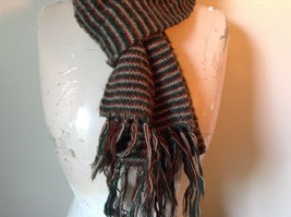 Green Brown Tan Long Scarf with Tassels 60 Inches Long 7 Inches Wide image 2