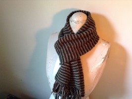 Green Brown Tan Long Scarf with Tassels 60 Inches Long 7 Inches Wide image 5