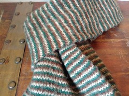 Green Brown Tan Long Scarf with Tassels 60 Inches Long 7 Inches Wide image 7