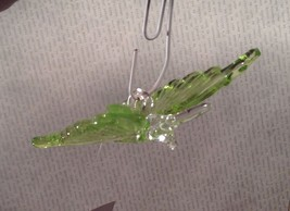 Green Butterfly Ornament 3 Inches Long 100 percent glass image 3