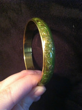 Green Brass Bracelet with Floral Design Under Shiny Enamel hand made image 3