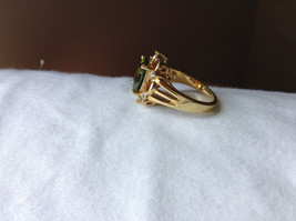 Green CZ with White CZ Petal Like Design Gold Plated Ring Size 8 image 2