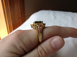 Green CZ with White CZ Petal Like Design Gold Plated Ring Size 8 image 5