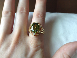 Green CZ with White CZ Petal Like Design Gold Plated Ring Size 8 image 6