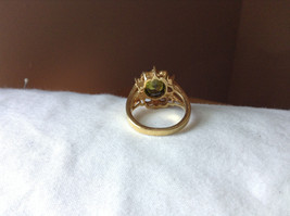 Green CZ with White CZ Petal Like Design Gold Plated Ring Size 8 image 3