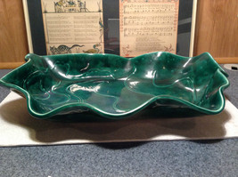 Green Decorative Handmade Large Serving Tray Wavy Edge Squiggly Designs image 2