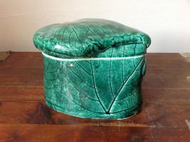 Green Grape Leaf Shaped Hand Crafted Artisan Ceramic Jar Trinket Box 2009 image 2