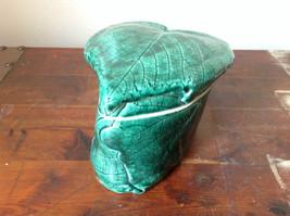 Green Grape Leaf Shaped Hand Crafted Artisan Ceramic Jar Trinket Box 2009 image 4
