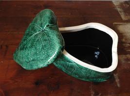 Green Grape Leaf Shaped Hand Crafted Artisan Ceramic Jar Trinket Box 2009 image 6