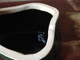 Green Grape Leaf Shaped Hand Crafted Artisan Ceramic Jar Trinket Box 2009 image 7