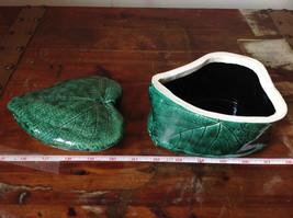 Green Grape Leaf Shaped Hand Crafted Artisan Ceramic Jar Trinket Box 2009 image 10