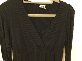 Japanese Weekend (JW) Maternity Black Stretchy Long Sleeve Blouse, Size L image 2