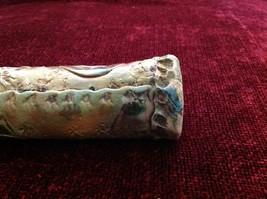 Green Handmade Raku Ceramic Rain Stick Intricate Designs 14 Inches Long image 5