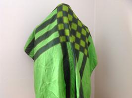 Green Dark Green Checkered Design Square Scarf Silk Like Material NO TAG image 4
