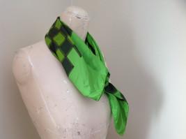 Green Dark Green Checkered Design Square Scarf Silk Like Material NO TAG image 2