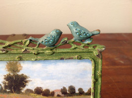 Green Metal Antiqued Blue Bird Decorated Photo Frame Jewel Accented image 2
