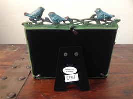 Green Metal Antiqued Blue Bird Decorated Photo Frame Jewel Accented image 5
