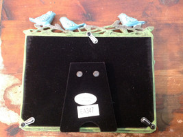 Green Metal Antiqued Blue Bird Decorated Photo Frame Jewel Accented image 6