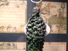 Green Pine Cone Hand Blown Glass Ornament Holiday Tree Old German Christmas image 2