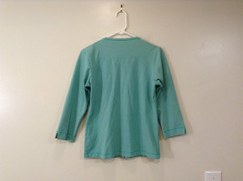 Green Patagonia Top Hidden Front Snap Closure Small  Slits on Sleeves Size M image 2
