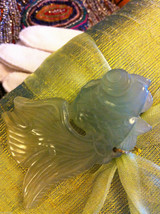 Green Raw Silk pillow sachet with lavender and green koi fish jade jewel image 2