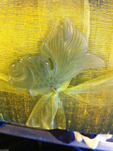 Green Raw Silk pillow sachet with lavender and green koi fish jade jewel image 4