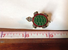 Green Red Gray Gold Tone Flat Turtle Pin Hinge Clasp Enamel Made in Korea image 6