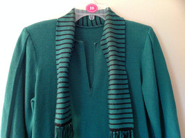 Green Striped Cuff and Attached Scarf Sweater Dress Zipper in Front No Name Tag image 3