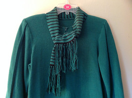 Green Striped Cuff and Attached Scarf Sweater Dress Zipper in Front No Name Tag image 2