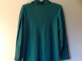 Green Striped Cuff and Attached Scarf Sweater Dress Zipper in Front No Name Tag image 7