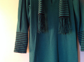 Green Striped Cuff and Attached Scarf Sweater Dress Zipper in Front No Name Tag image 4