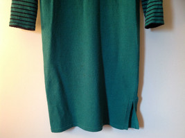 Green Striped Cuff and Attached Scarf Sweater Dress Zipper in Front No Name Tag image 5