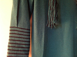Green Striped Cuff and Attached Scarf Sweater Dress Zipper in Front No Name Tag image 6