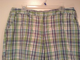 Green and Blue Plaid Casual Shorts Size 16 Kim Rogers Front and Back Pockets image 2