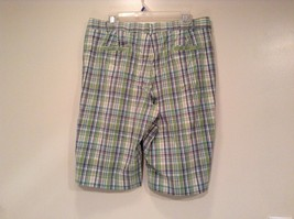 Green and Blue Plaid Casual Shorts Size 16 Kim Rogers Front and Back Pockets image 4